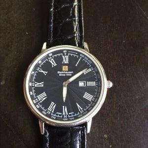 Steinhausen Swiss movement black leather watch